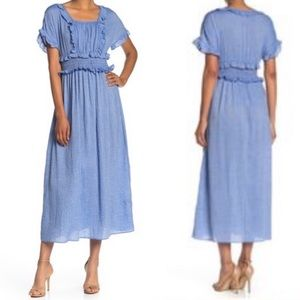 MAX STUDIO Short Sleeve Striped Print Ruffle Dress
